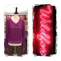 "Wildfox ""Depresso needs espresso"" BBJ NWOT Depresso needs espresso. Super soft, distressed fleece pullover sweater with a roomy fit that hangs off the body perfectly. Relaxed v-neck. Banded hems.  In Magic Purple & Pale Moon White.  47% Rayon, 47% Polyester, 6% Spandex TAGS CAME OFF DURING TRANSPORTATION ❌️️❌Trades Wildfox Tops"
