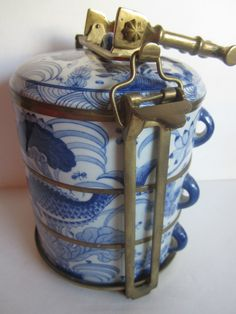 Vintage Food Stacking Porcelain Boxes China Ming Style Blue White w/beautiful Brass Bamboo motif carry Handle