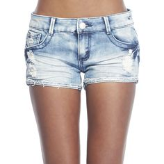 Almost Famous Turn Cuff Short Wet Seal ($27) ❤ liked on Polyvore featuring shorts, bottoms, pants, cuffed shorts, zipper shorts, ripped denim shorts, embroidered shorts and torn shorts