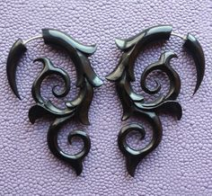INFERNO Flame Earrings - Tribal Fake Gauges - Hand Carved Natural Black Horn. $23.00, via Etsy.