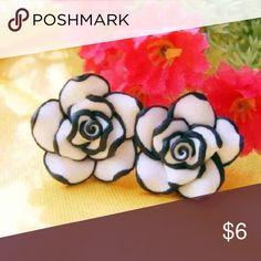 Rose Earrings Black and white resin rose earrings Jewelry Earrings