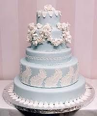 baby blue wedding cake with white detailing