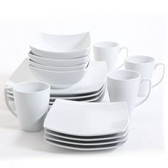Dining ware that will suit and match any tasteMonarchPiece White Square GE Dinnerware Set Gibson Dinnerware, Stoneware Dinnerware Sets, Square Dinnerware Set, White Dinnerware, Porcelain Dinnerware, Tableware, Modern Dinnerware Sets, Dinnerware Sets Walmart, Kitchenware Set