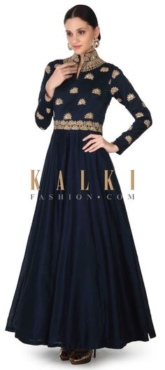 Buy this Navy blue anarkali suit adorn in zardosi butti only on Kalki