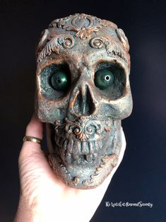 Gothic Skull Steampunk Skull Life Size Skull Ornament | Etsy Steampunk House, Victorian Steampunk, Halloween Fashion, Fall Halloween, Gothic House, Green Eyes, Baroque, Birthday Gifts, Ornament