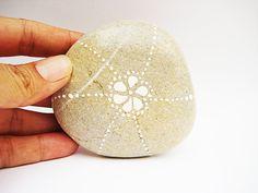 Painted Stone Original handpainted Pebble White by MalenaValcarcel, $21.00