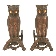 "Arts & Crafts Period, Owl andirons, cast iron, electrified, 11""w x 21""d x 21""h, Provenance:, The Estate of Candice B. Groot, Evanston, IL Provenance: The Estate of Candice B. Groot, Evanston, IL"