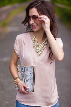 Pearl statement necklace // LipglossandLabels.com
