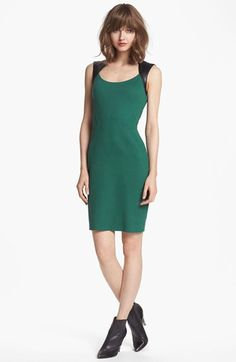 Faux Leather Yoke Sheath Dress #NSale