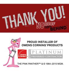 We are so happy to announce Owens Corning as a sponsor at the No Roof Left Behind event!   They are the world renowned leader in asphalt shingle products!  #watkinsroofing #owenscorning #ocplatinum #noroofleftbehind #givingback #teamwork #watkinsway