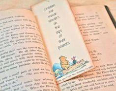 Winnie the Pooh Unique Bookmarks Vintage - Baby shower -  Set 10 - Book Club -  Bridal Shower - Wedding Shower - Personalized,