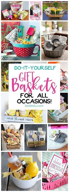 Put together a gift basket for any occasion and make someone's day! Easy do … Put together a gift basket for any occasion and make someone's day! Easy do it yourself ideas! Put together a gift basket for any occasion and make someone's day! Diy Gift Baskets, Christmas Gift Baskets, Diy Christmas Gifts, Holiday Gifts, Gift Basket Ideas, Raffle Baskets, Homemade Gift Baskets, Gift Baskets For Women, Baking Gift Baskets