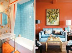 Color Theory Making Complementary Colors Work for You Turquoise Bathroom, Bathroom Colors, Bathroom Rugs, Bathroom Ideas, Living Room Colors, Living Room Decor, Orange Bathroom Accessories, Blue Velvet Couch, Orange Bathrooms