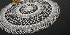 Handmade Crochet Lace Small Round Tablecloth, Pure White, 65cm/25.5in, Vintage 80s Plaid Tablecloth, Round Tablecloth, Table Toppers, Tablecloths, Pure White, Crochet Lace, Doilies, Delicate, Colours