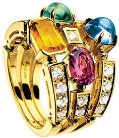 Bvlgari Allegra three-band 18ct yellow-gold, pink tourmaline, peridot, citrine quartz, blue topaz and pavé diamond ring on shopstyle.com