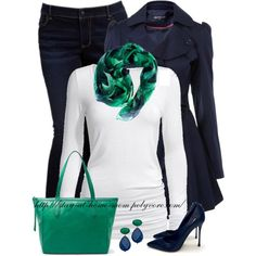 """Navy & Green"" by stay-at-home-mom on Polyvore"