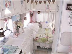 Cute camper interior, cottage/vintage camper decor.