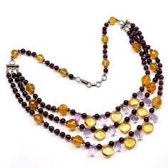 Yellow Quartz, Garnet & Amethyst 925 Silver Classical Necklace Jewelry PG 1641 #Pinkcitygems #Necklace