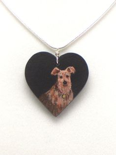 Dog Pendant Heart Pendant Hand Painted on Wood by ThePaintedCanary
