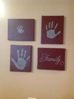 Diy handprints on canvas. Canvases, paint, family stencil. Great Father's,Mother's, or grandparents day gift by cecile