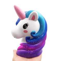 New Jumbo Colorful Galaxy Unicorn Horse Head Squishy Cute Bread Cake Scented Slow Rising Soft Squeeze Toy Fun for Kid Xmas Gift. Unicorn Horse, Unicorn Head, Slime And Squishy, Cute Squishies, Diy Crafts For Girls, Unicorn Rooms, Colorful Clouds, Popsicle Crafts, Bubble Art