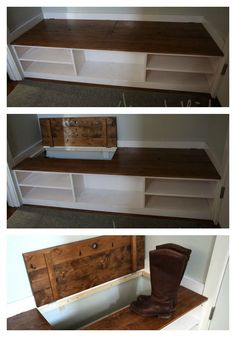 Video:Hidden Boot Storage in Wasted Space of Entry Bench Entry Bench, Shoe Storage Entryway Bench, Diy Bench With Storage, Basement Storage, Furniture Projects, Furniture Plans, Diy Furniture, Boot Storage, Diy Shoe Storage