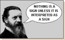 Everything is a sign - you read them subconsciously.Walk into a pizza restaurant you 'feel' what it is like. You have just 'read' all the signs around you - type of food, tables,types of wine and interpreted it - instantly you are a semiotician!