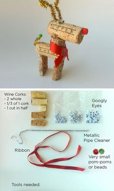 Wine Cork Reindeer | Click for 25 DIY Christmas Crafts for Kids to Make | DIY Christmas Decorations for Kids to Make