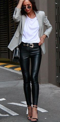 Blazer + leather leggings.