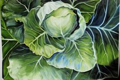 Bring a lush piece of the vegetable garden into your home with this beautiful cabbage painting. Each leaf is composed of stunning shades of green with