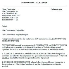 Subcontractor Agreement Free Pdf   Subcontractor Agreement