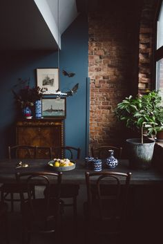 wall color as kitchen cabinet color with brick walls Living Room Cabinets, Brick Interior Wall, Brick Wallpaper Living Room, Dark Blue Painted Walls, Wallpaper Living Room, Home Decor, House Interior, Brick Living Room, Brick Interior
