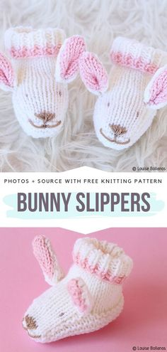 Bunny Slippers Free Knitting Pattern Knit flat bunny slippers will be a great project for beginners. Sticking out ears and embroidered faces are super cute and babies will surely love them. Knitting Patterns Free, Free Knitting, Baby Knitting, Knitted Baby, Baby Bunnies, Cute Bunny, Bunny Slippers, Knit Baby Booties, Animal Ears