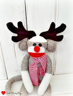 Sock Monkey Doll Rudolph the Red Nose Reindeer