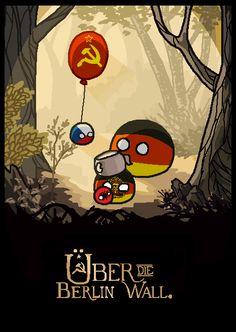 Over the Berlin Wall : Polandballart Blagues Stupides Best Memes, Dankest Memes, Satw Comic, Memes Historia, Funny Images, Funny Pictures, Schmidt, Online Comics, Berlin Wall