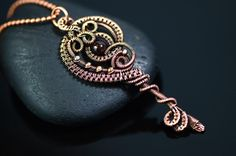 Key necklace pendant wire wrapped garnet gemstone copper wire jewelry unique gift 18th or 21st birthday Aquarius zodiac handmade jewelry by OrioleStudio on Etsy https://www.etsy.com/listing/255274767/key-necklace-pendant-wire-wrapped-garnet
