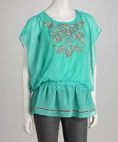 Take a look at this Jade Embroidered Cutout Cape-Sleeve Tunic by Panitti on #zulily today!