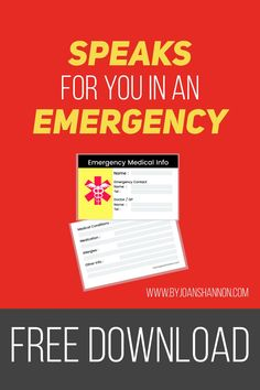 Print out this handy medical card & keep in your wallet in case of an emergency.