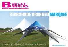 A starshade branded marquee is a stunning addition to any outdoor field event. It offers the largest digitally printed area and is an absolute favourite when it comes attracting the most attention. http://www.budgetbanners.co.za/starshade-branded-marquee