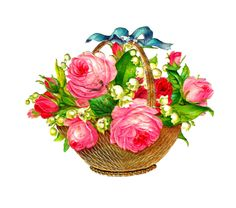 Antique Images: Free Flower Basket Graphic: Pink Roses and Lily of the Valley Flowers in Basket with Blue Ribbon