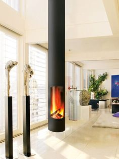 SLIMFOCUS - Hanging fireplace / wood-burning / gas / contemporary by Focus Hanging Fireplace, Home Fireplace, Fireplace Design, Focus Fireplaces, Modern Fireplaces, Appartement Design, Ikea Living Room, Living Rooms, Beautiful Home Designs