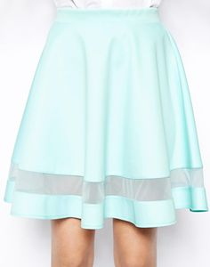 Green Contrast Sheer Mesh Yoke Pleated Skirt