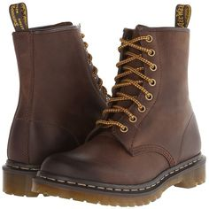 Dr. Martens 1460 W 8-Eye Boot (Dark Brown Burnished Wyoming) Women's... ($70) ❤ liked on Polyvore featuring shoes, boots, brown, slip resistant boots, leather shoes, slip resistant shoes, brown boots and genuine leather boots