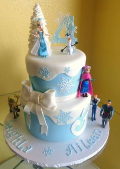 Dual tier Frozen themed cake designed and created by Sweet Pea Cake Company of Colorado Springs.