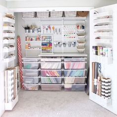 Craft room closet organization shelving New ideas Craft Room Closet, Craft Closet Organization, Craft Room Storage, Medicine Organization, Basement Storage, Organize Craft Closet, Wrapping Paper Organization, Office Organisation, Bathroom Closet