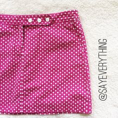"""J.Crew Diamond Print Sailor Mini Skirt By J.Crew. Style # 90958. Cotton twill. White diamond print on pink fabric. White anchor buttons with side angled pockets. Excellent condition. Size 10. Waist is 17"""" across and length is 15.5."""" Thanks for looking! J. Crew Skirts Mini"""