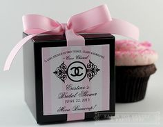 CoCo Chanel Black Box with 3 inch personalized Labels great for all occasions birthdays, weddings, bridal shower, sweet sixteen birthday parties Chanel Birthday Party, Chanel Party, Bridal Shower Cupcakes, Baby Shower Favors, Coco Chanel, Chanel Logo, Thema Paris, Chanel Bridal Shower, Pink Party Favors