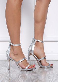 Silver Three Strap Metallic Heels - Luster - Trends 9c2c98eb9ac6
