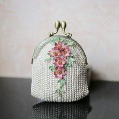 Beige crochet coin purse with 5 crocheted hand dyeing flowers, crochet art, OOAK.