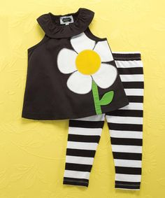 Look what I found on #zulily! Black Flower Tunic & Leggings - Infant, Toddler & Girls #zulilyfinds